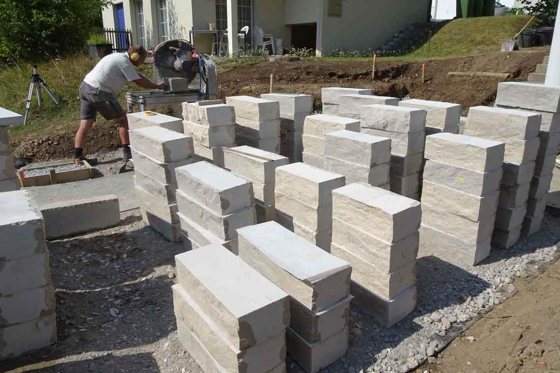 Mauersteine sortieren
